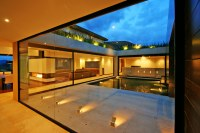 Courtyard, Lighting, Water Feature, AR House in La Calera ...