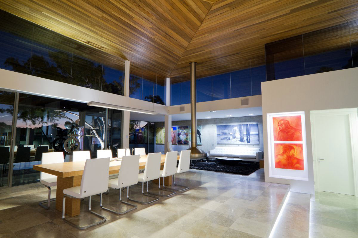Dining Space, Art, Contemporary Fireplace, The 24 House in Dunsborough, Australia