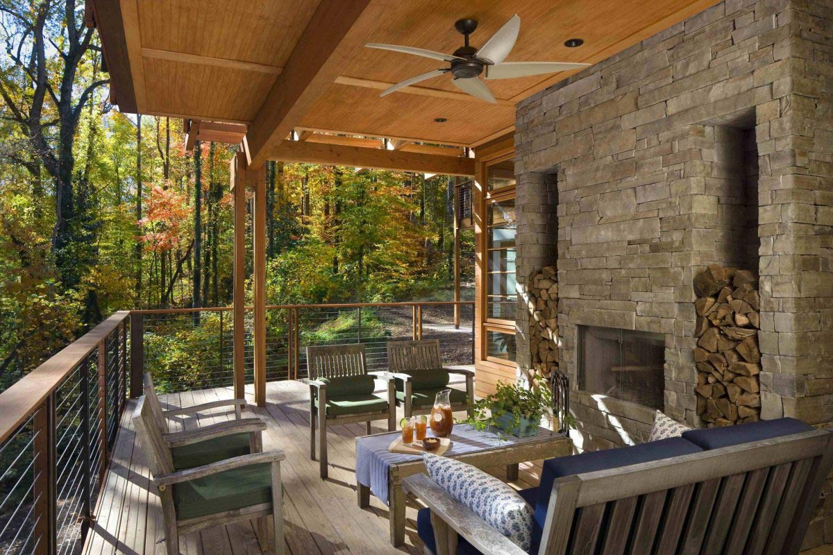 Outdoor Fireplace Terrace Greenland Road Residence in