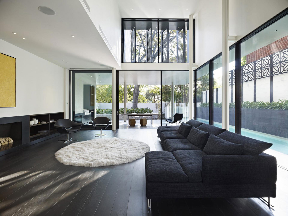 living room furniture melbourne australia affordable tables dark sofa verdant avenue home in by robert mills architects