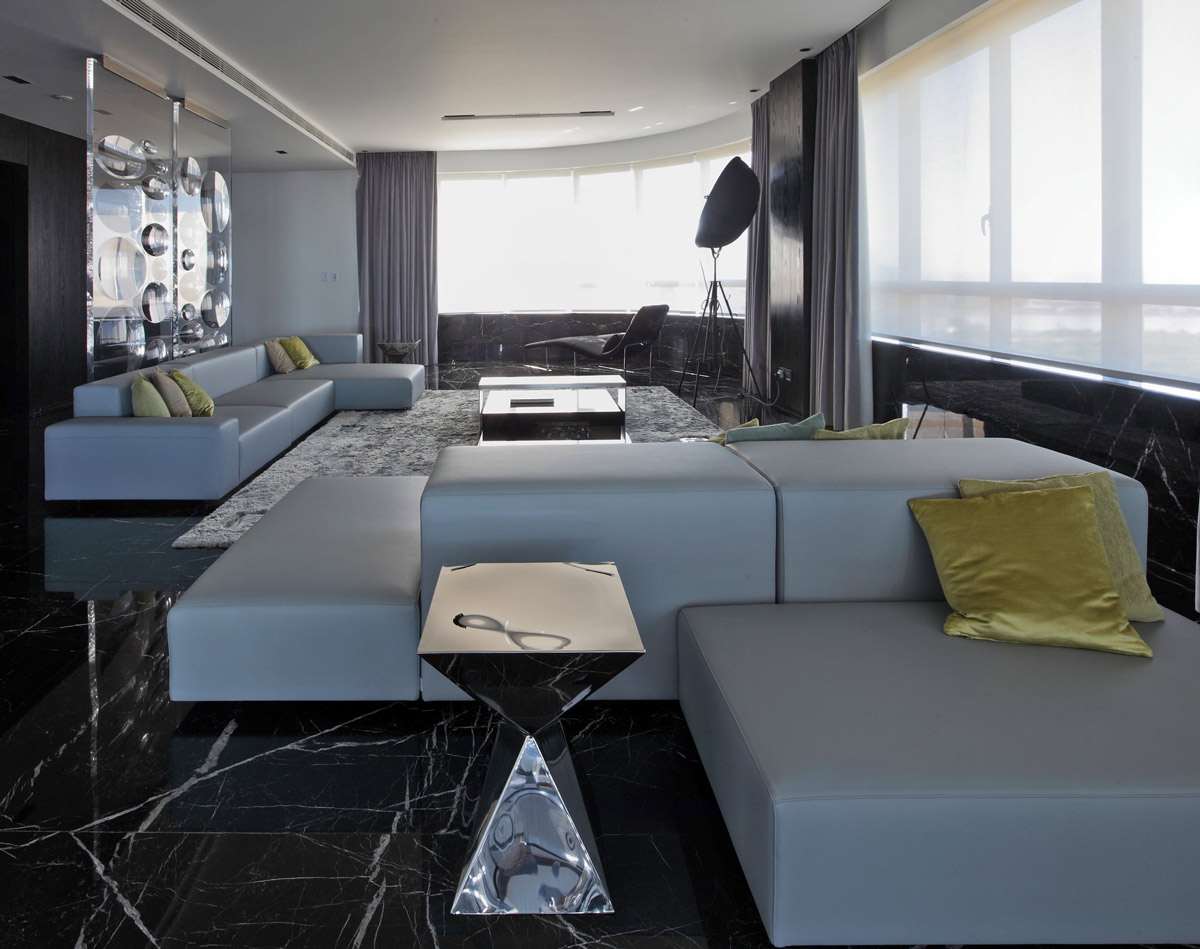 living room furniture design elegant sets grey sofas, dark marble floor tiles, modern apartment in ...