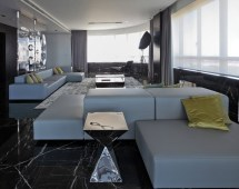 Grey Sofas Dark Marble Floor Tiles Modern Apartment In