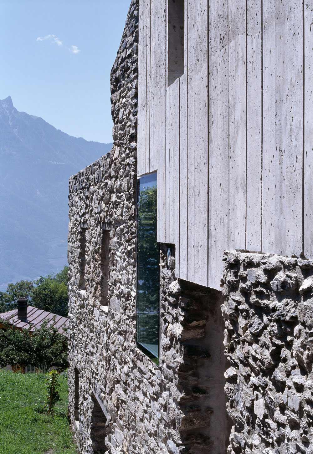 Exposed Concrete, Stone Walls, Renovation in Chamoson, Switzerland by Savioz Fabrizzi Architecte