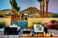 Outdoor Fireplace, Waterfall, Pool, Seating, Ironwood ...