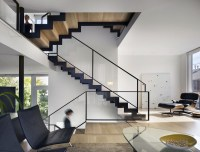 Stairs, Living Space, Split Level House in Philadelphia by ...