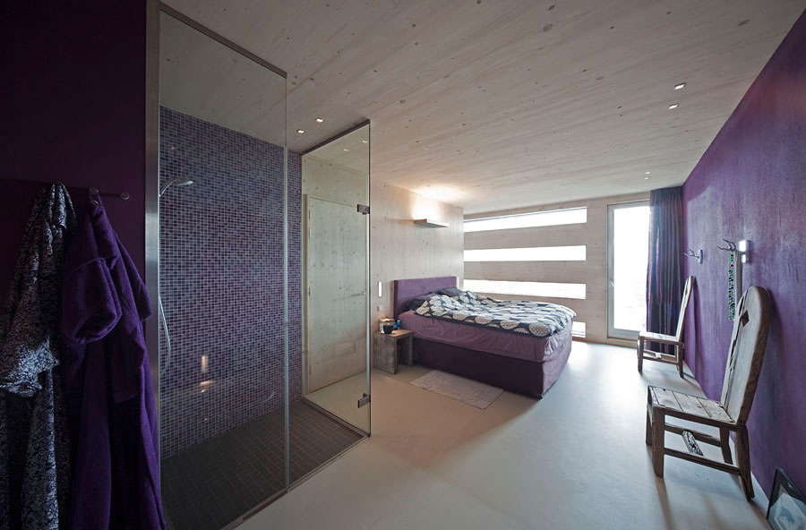 Purple Bedroom Shower EcoFriendly House in Amsterdam