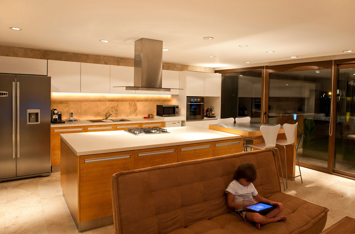 Kitchen island patio doors modern house in buenos aires argentina
