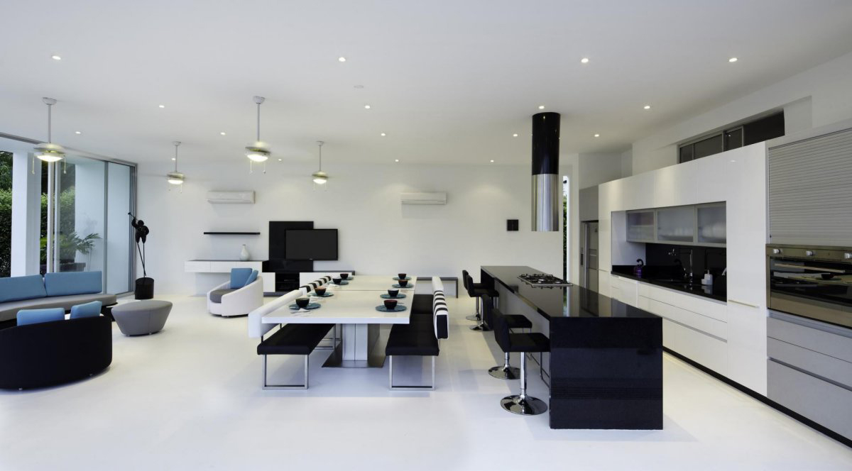 Black  White Kitchen Dining Table Living Space Modern