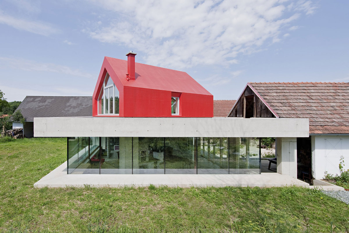 Concrete & Glass Construction, Old Farm House Renovation and Expansion in Burgenland, Austria