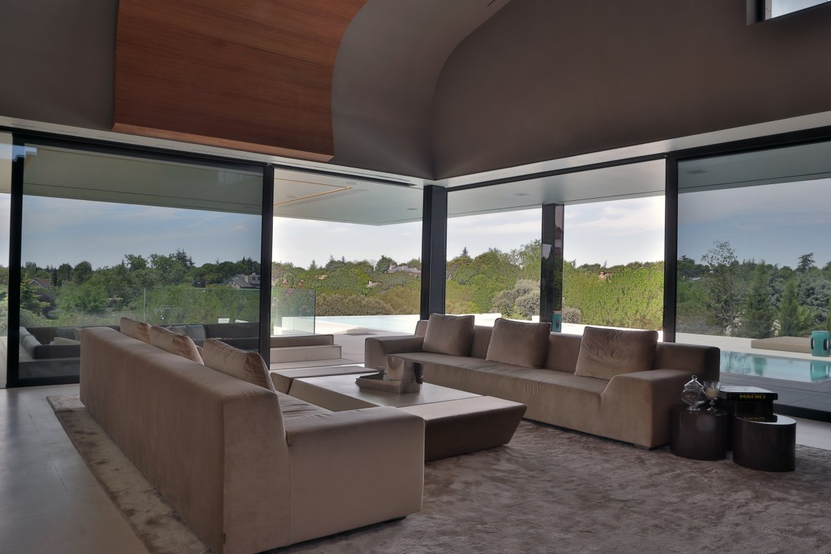 Glass Walls Living Room Futuristic Home in Madrid Spain