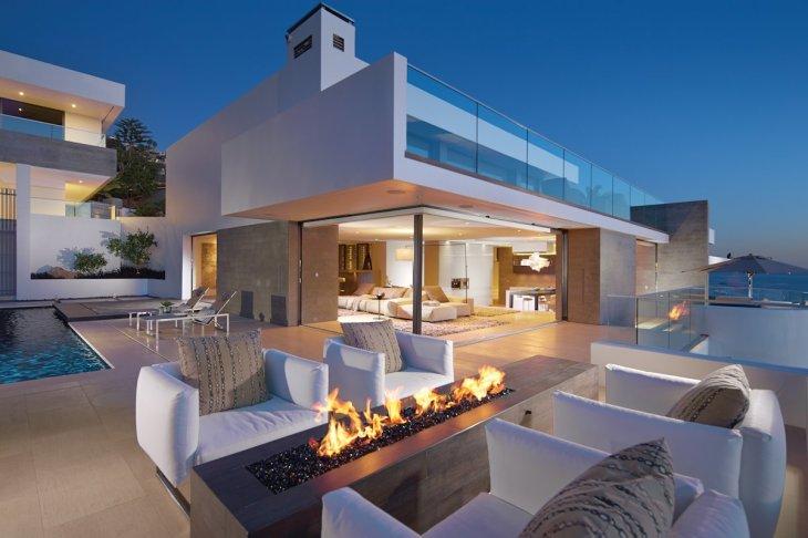 Evening, Outdoor Living, Modern Fireplace, Beach House in Laguna Beach,  California