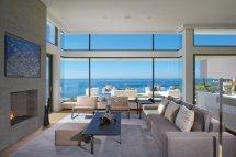 Sofa Fireplace Large Windows Beach House In Laguna