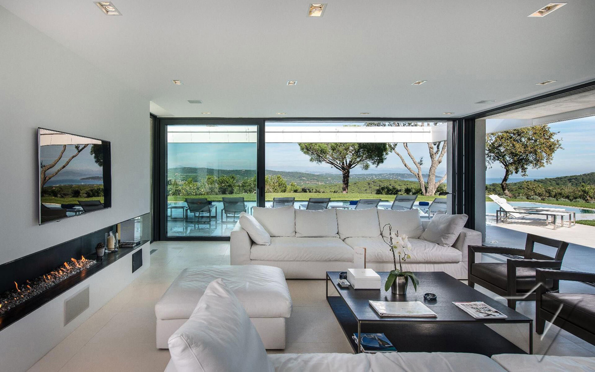 Contemporary Fireplace Sofas Glass Sliding Doors Luxury
