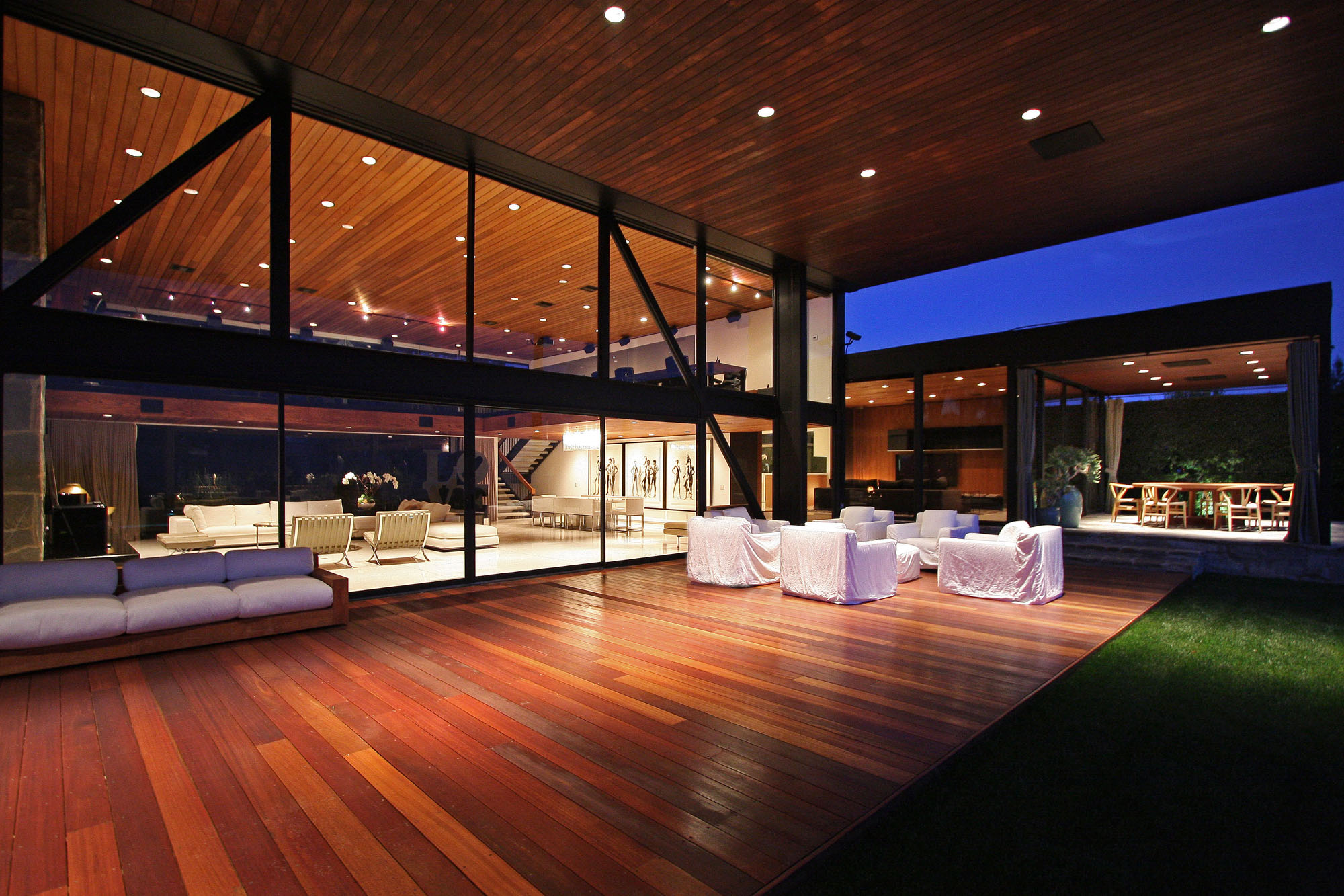 Wood Deck Terrace Revamped Interior in Beverly Hills