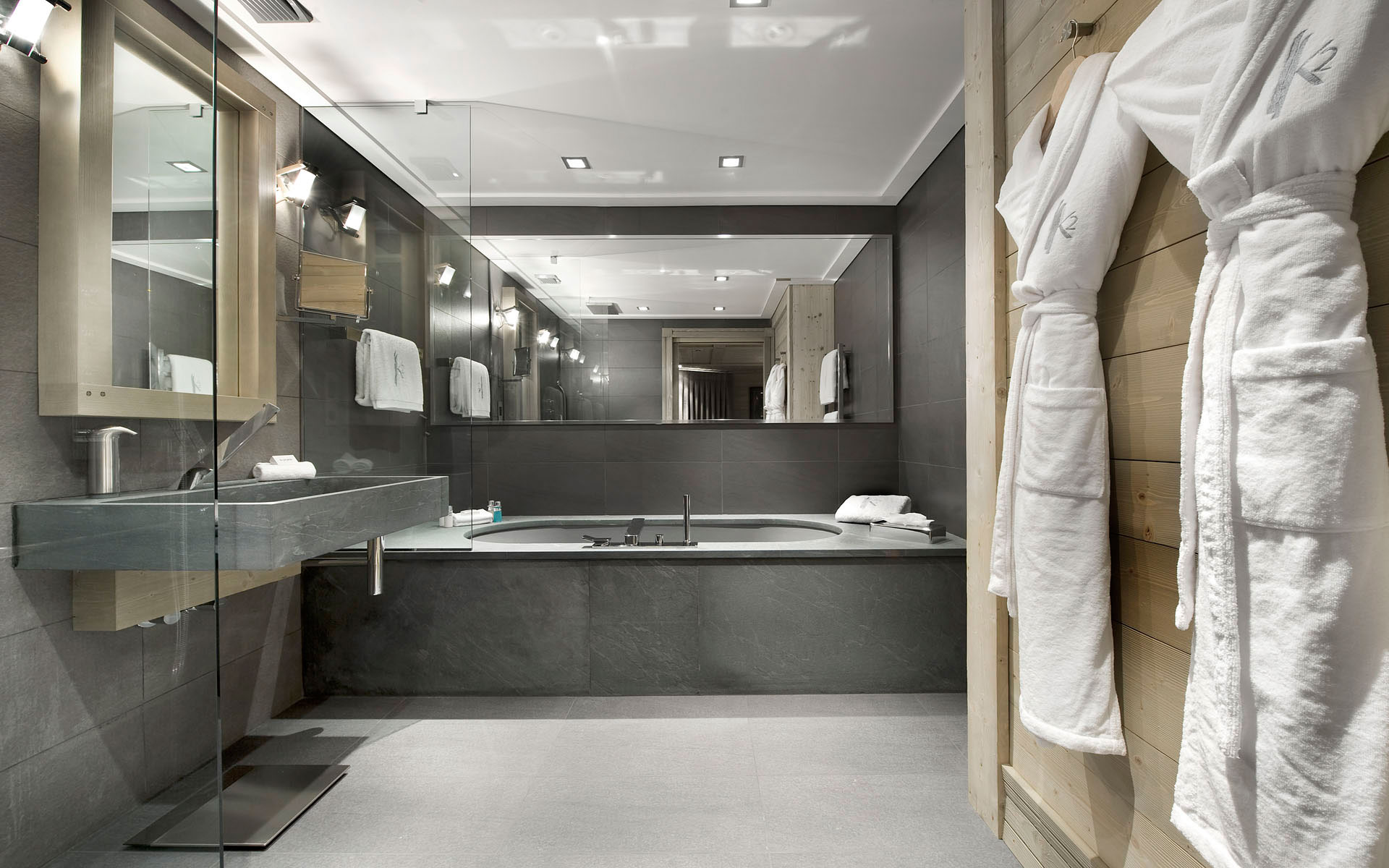 Slate Marble  Glass Grey Bathroom Ski Chalet in