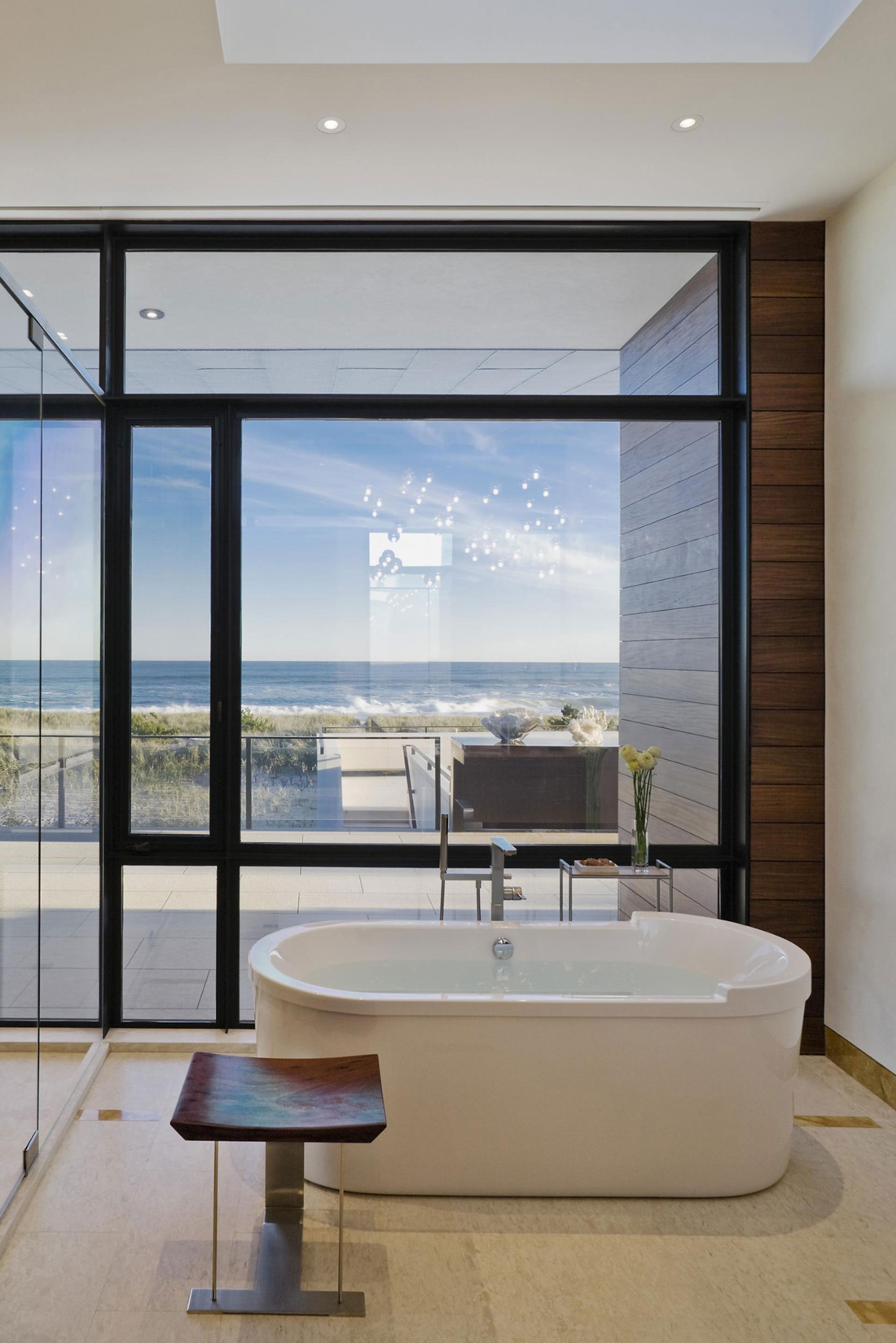 Bathroom Tub FloortoCeiling Windows Summer Retreat in