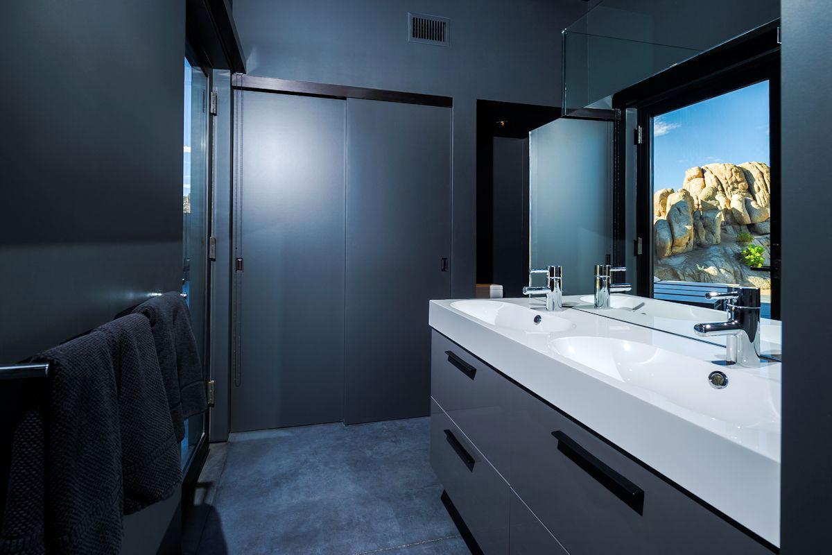 Dark Bathroom Mountain Home in Twentynine Palms