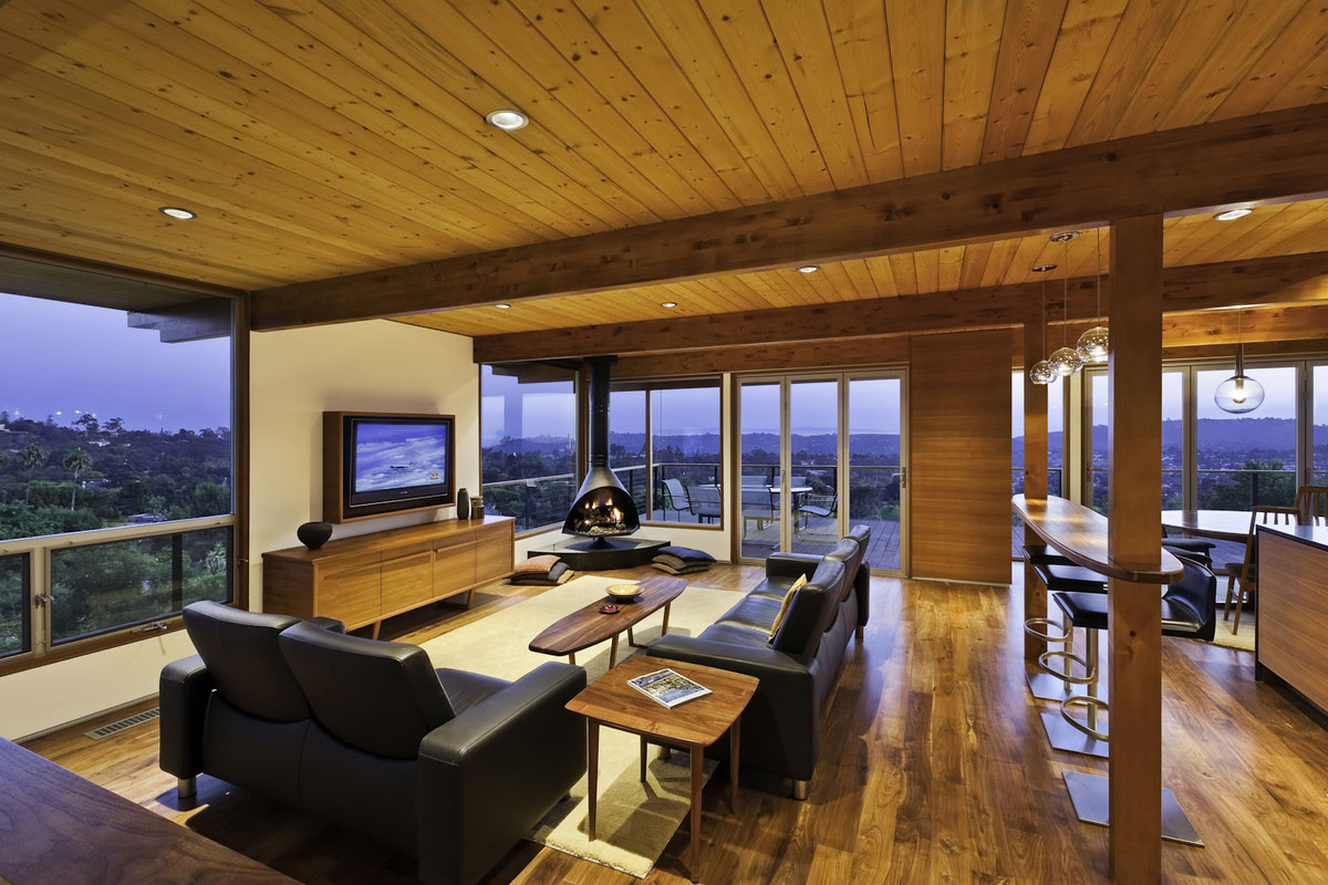 mid century modern living room lighting furniture indianapolis sofas fireplace home in santa barbara california