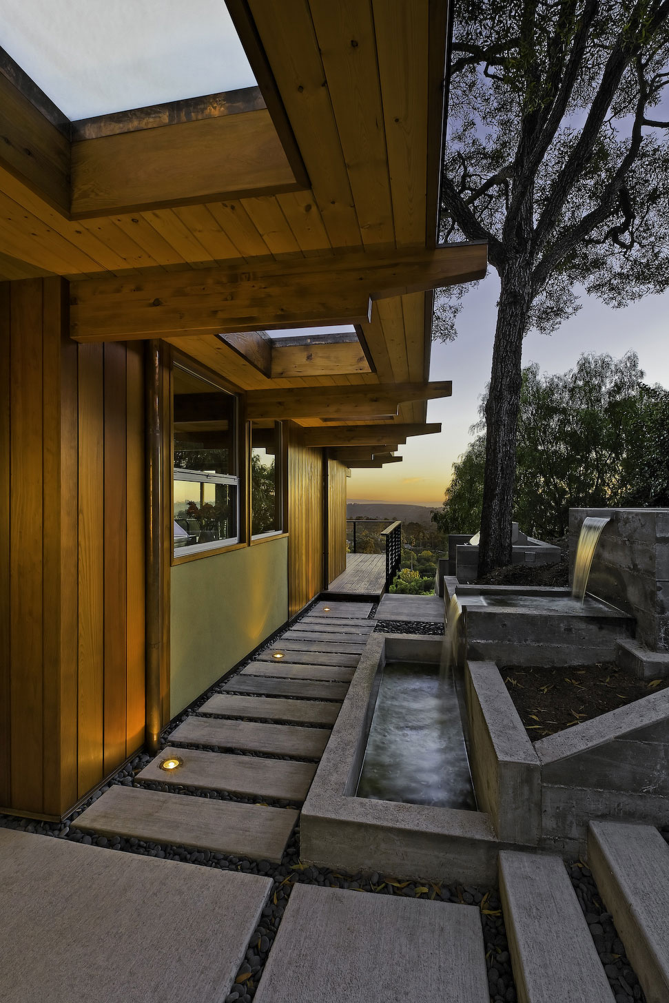 Water Feature Waterfalls Mid Century Modern Home In