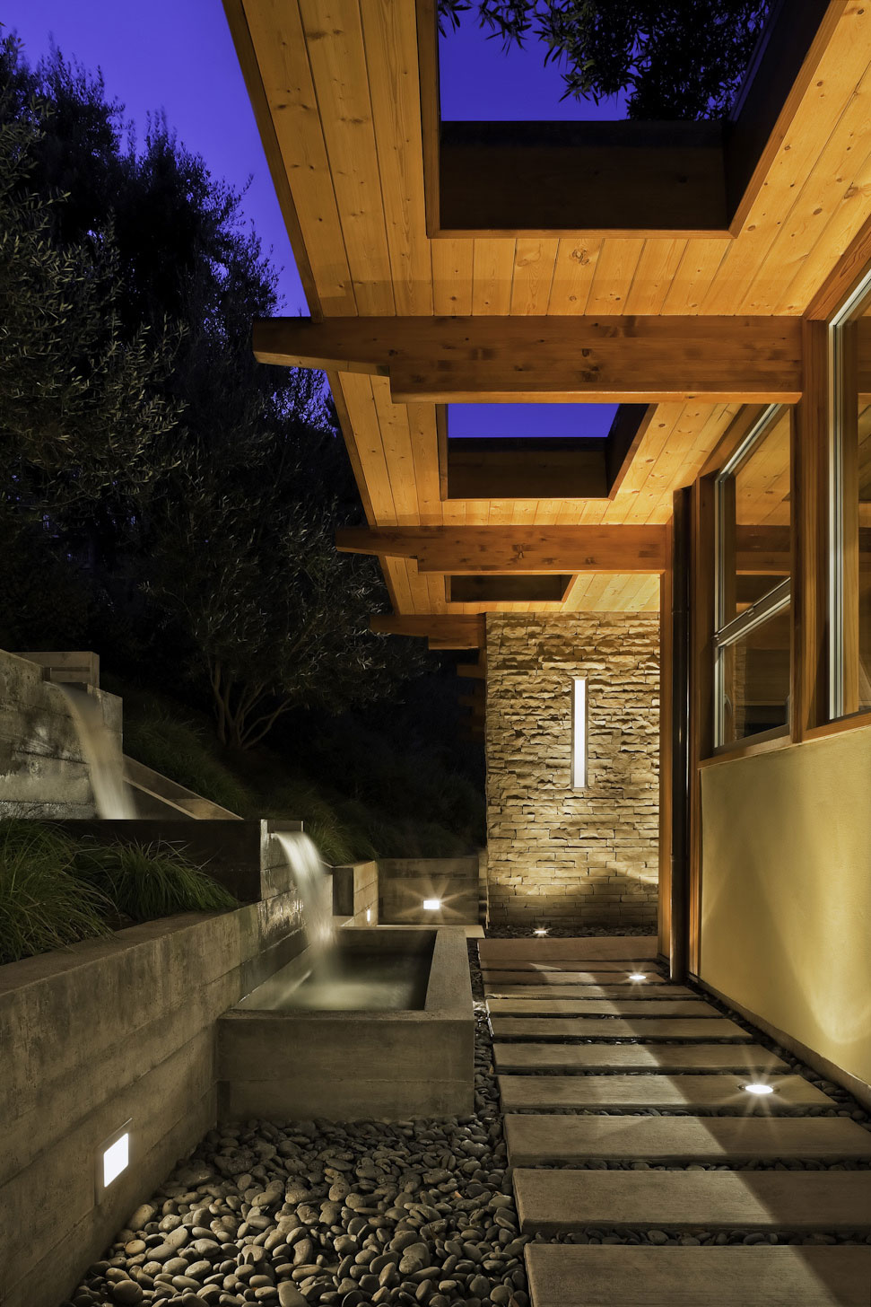 Waterfall Water Feature Pathway Lighting MidCentury