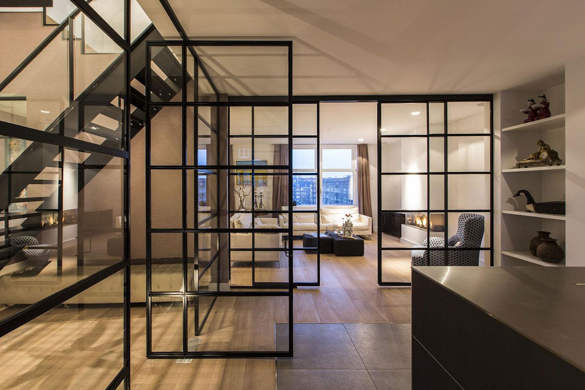 Glass Walls Living Room Kitchen Apartment in Amsterdam