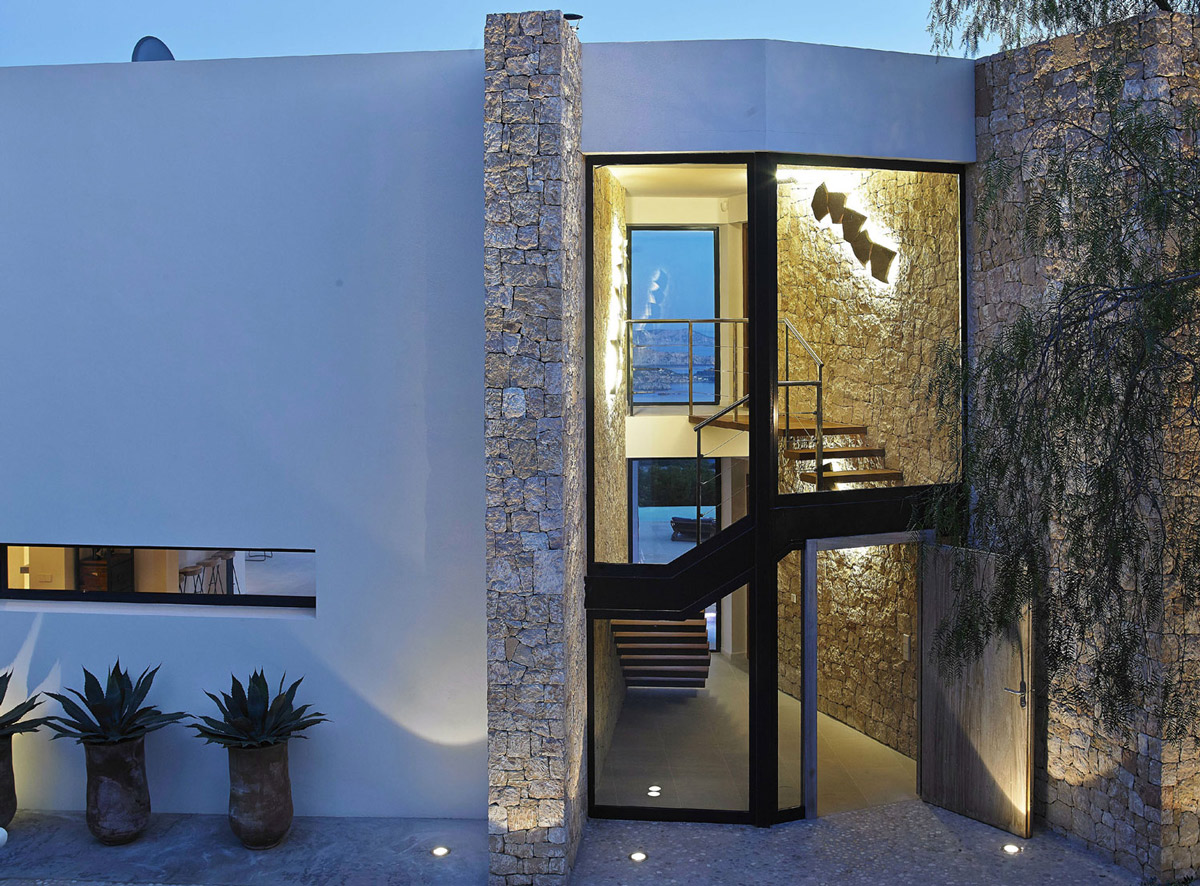 Glass Entrance Wooden Front Door Modern House in Ibiza