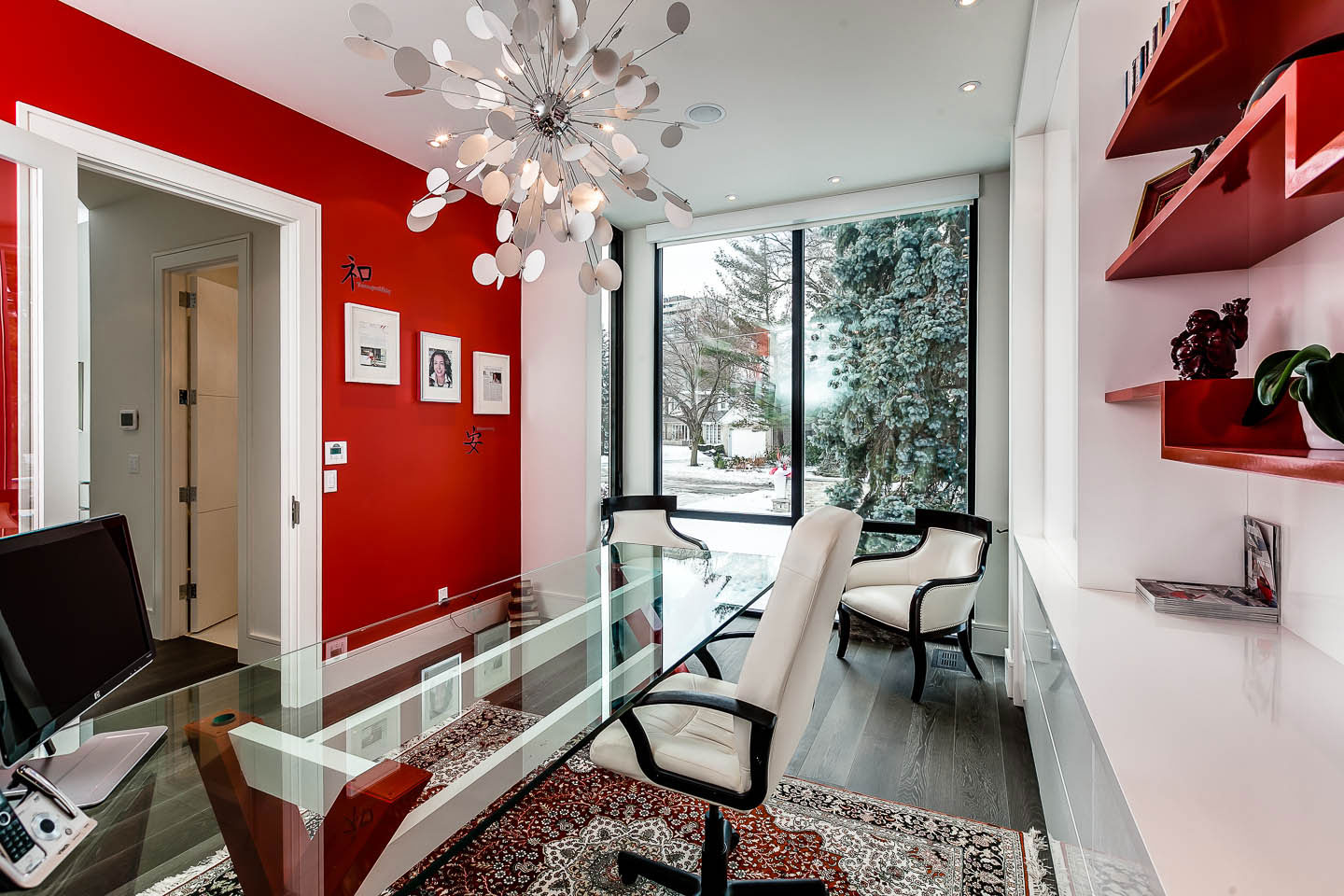 Red And White Home Office