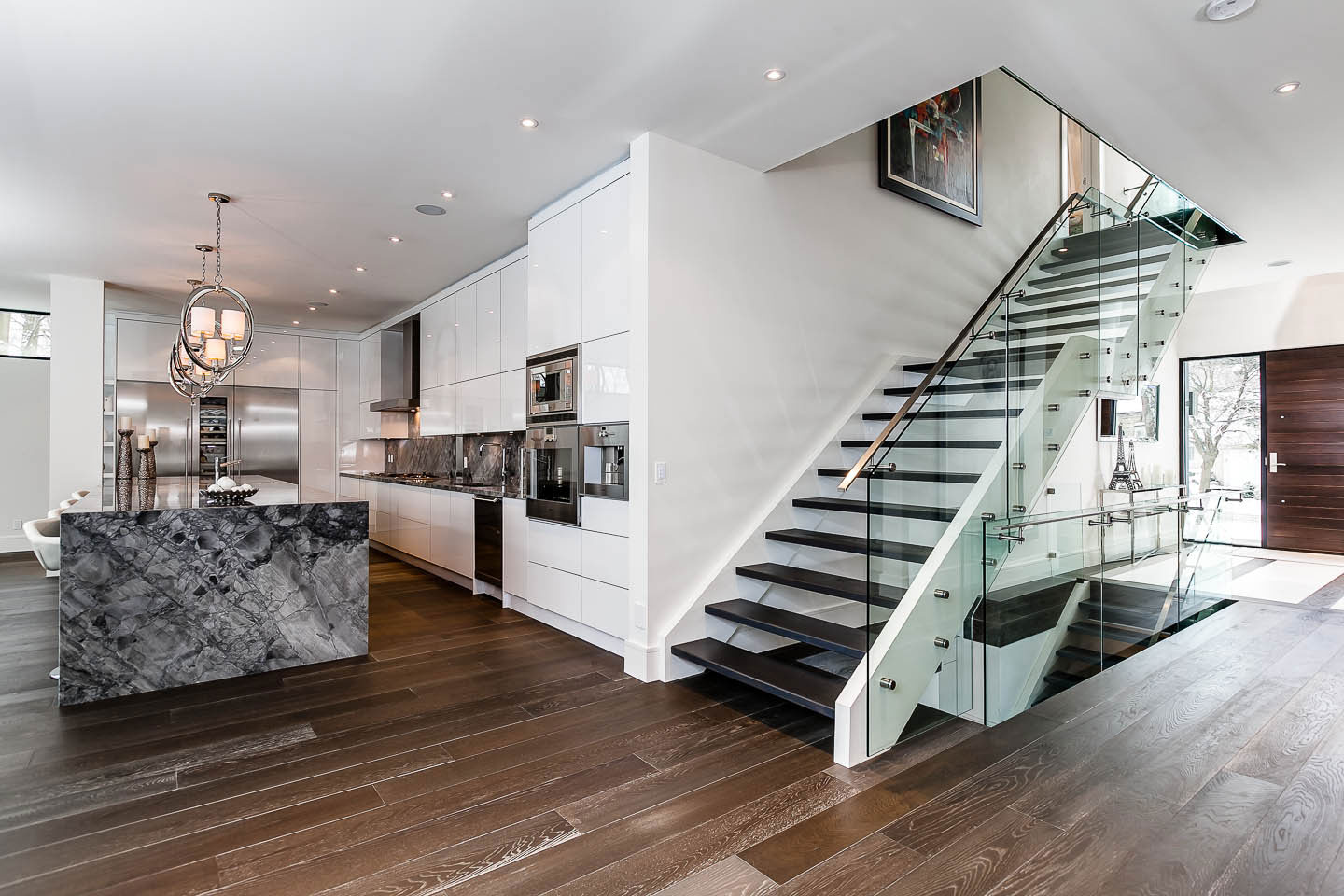Modern Stairs Glass Wood And Metal Stairs Kitchen