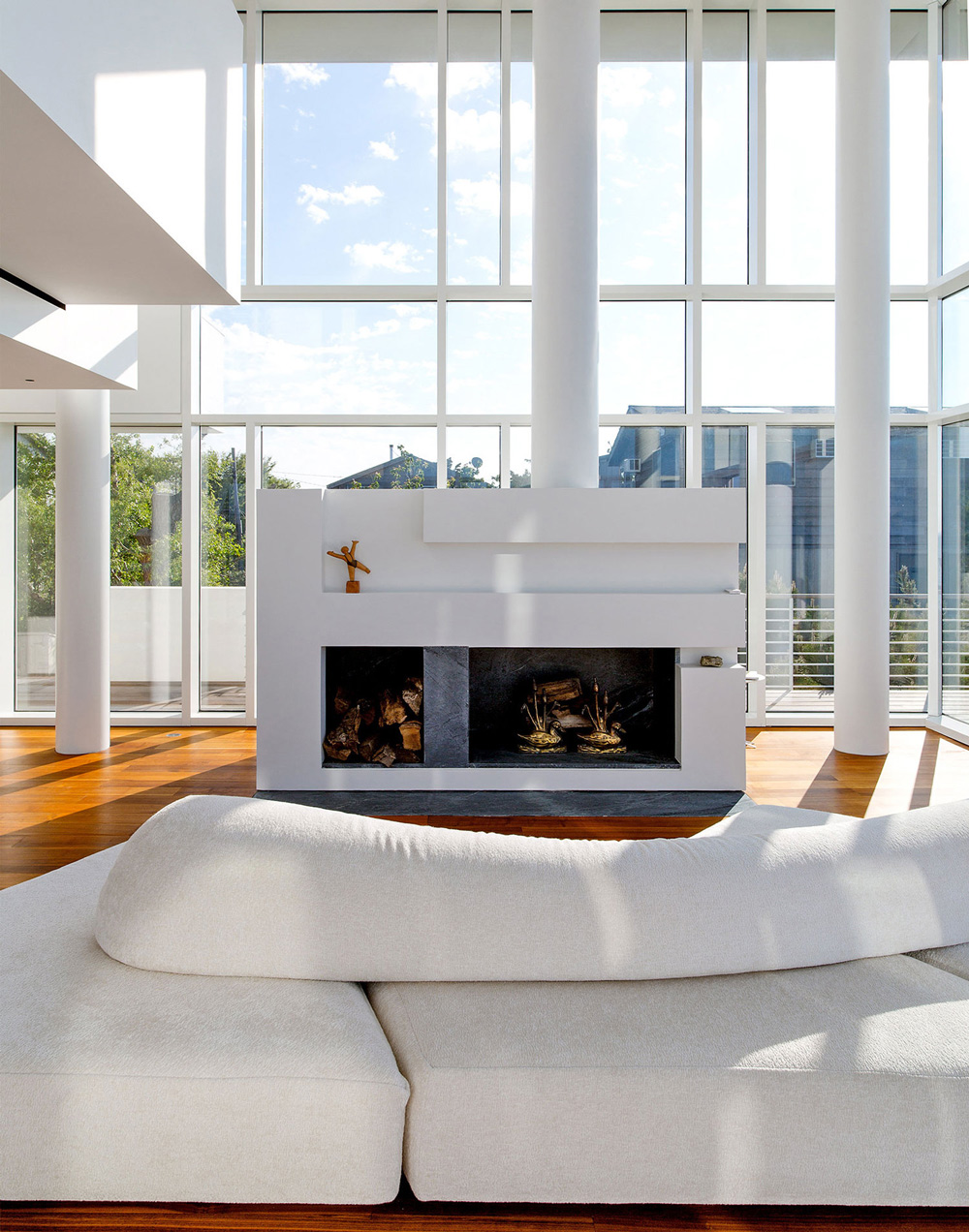 marble living room furniture with sectional fire island house by richard meier