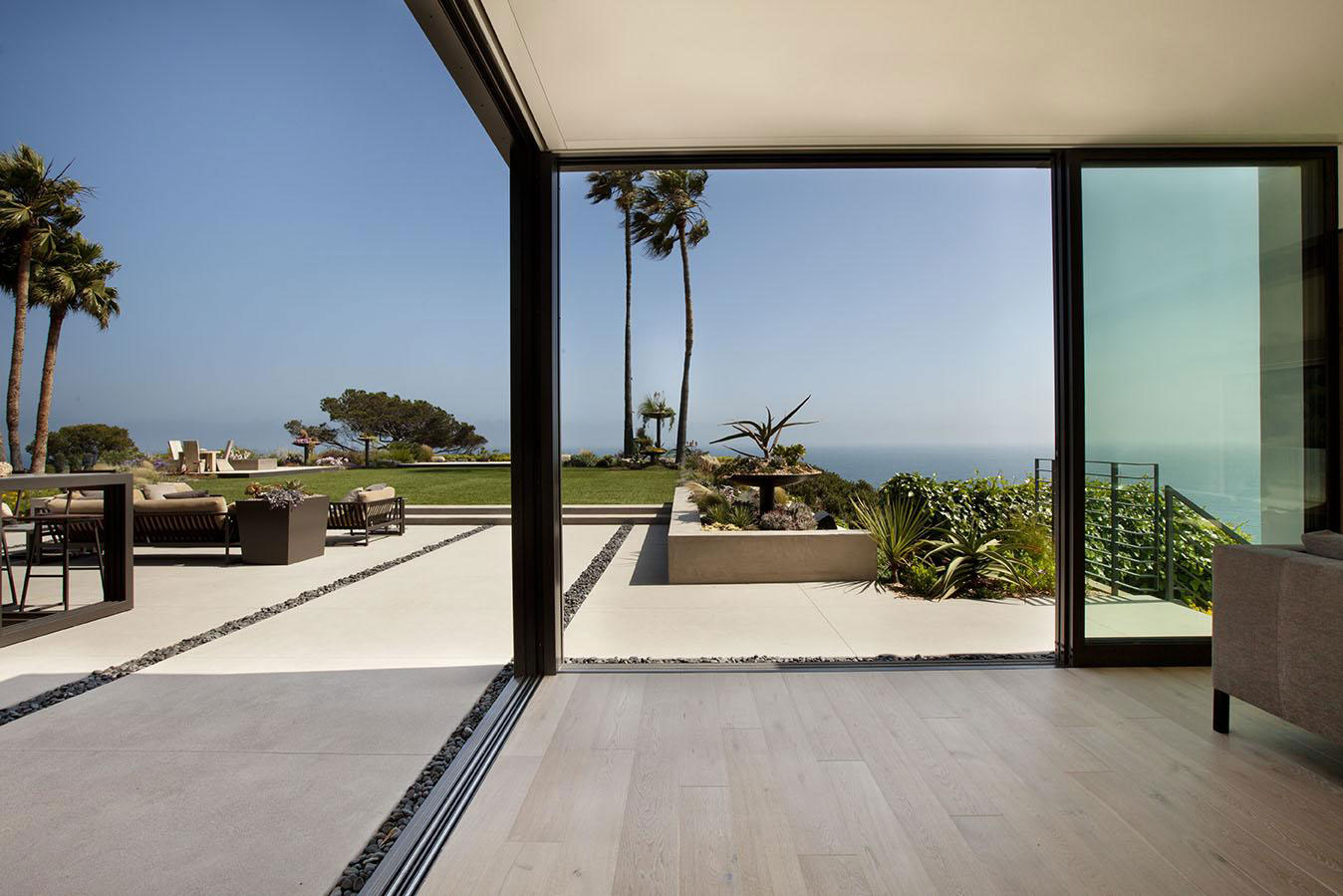 Glass Sliding Doors Terrace House In Pacific Palisades