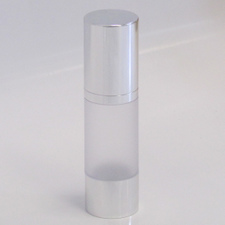 Frosted & Silver Chrome 30ml With Cap - Airless Serum Bottles