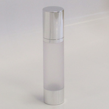 Frosted & Silver Chrome 50ml With Cap - Airless Serum Bottles