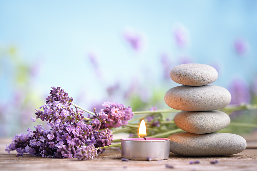 lavender oil and candles to help sleep