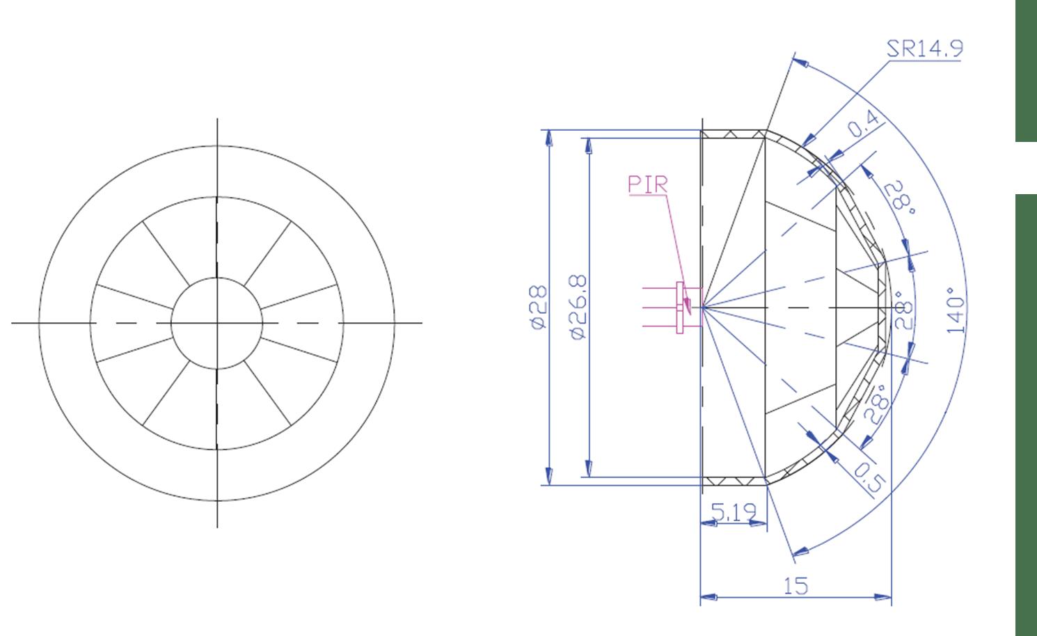 PIR :: PIR Flat Fresnel Lens :: motion light switch lens