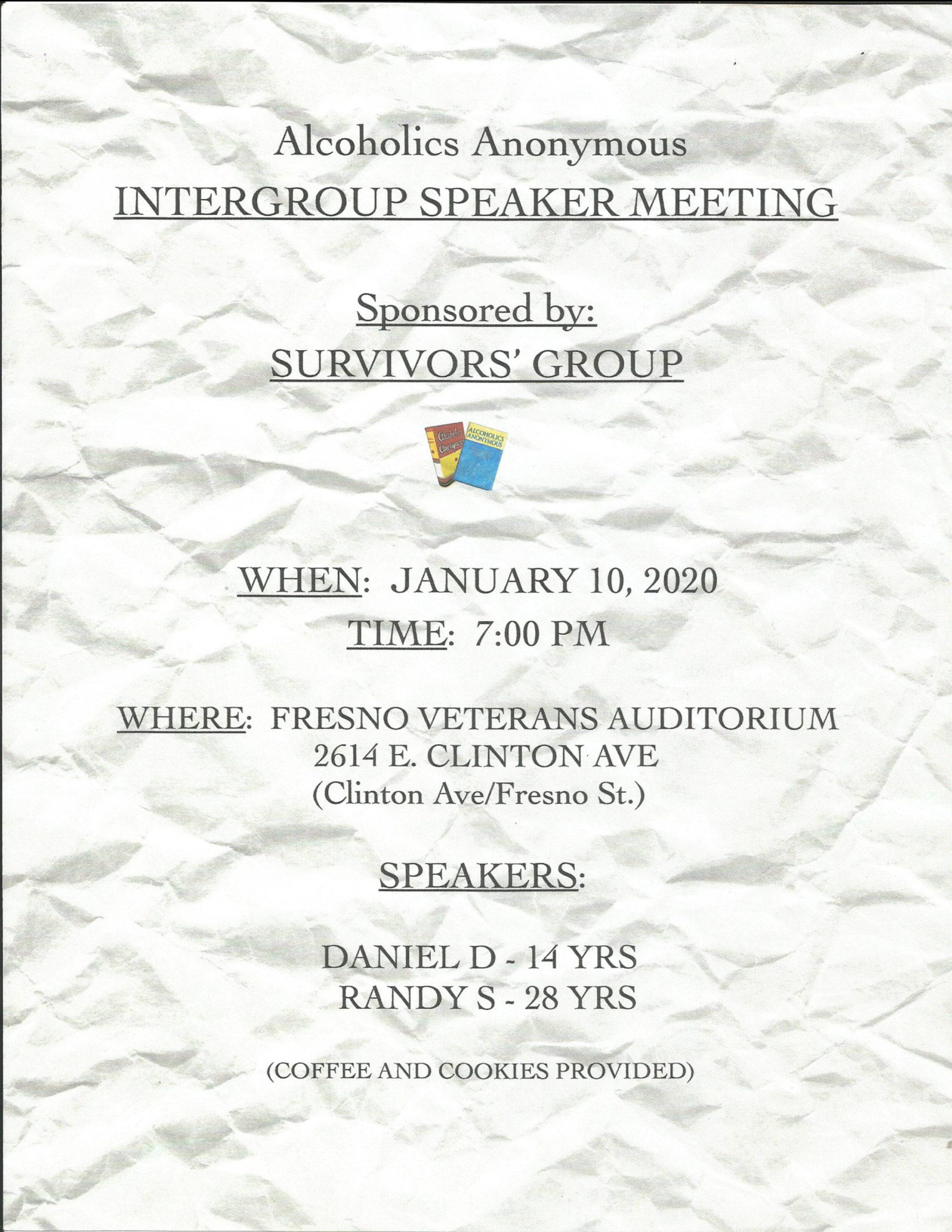 Intergroup Speaker Meeting By Survivors Group
