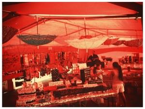 Cool red tarp umbrella display!