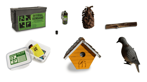 Caches come in a variety of sizes and shapes (image via Geocaching.com)