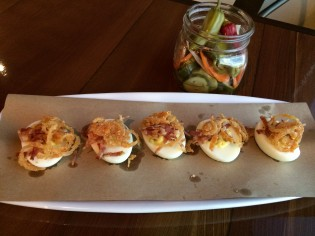 Deviled Eggs w/ Bacon, Pickle Jar