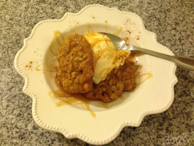 Pumpkin Oat Butterscotch Cookies with Vanilla Ice Cream, Caramel and Cinnamon