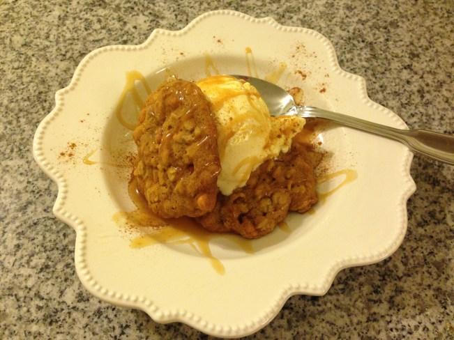 Pumpkin Oat Butterscotch Cookies with Vanilla Ice Cream, Caramel and Cinnamon