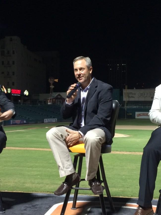 Astros President of Business Operations Reid Ryan speaks at Chukchansi Park.