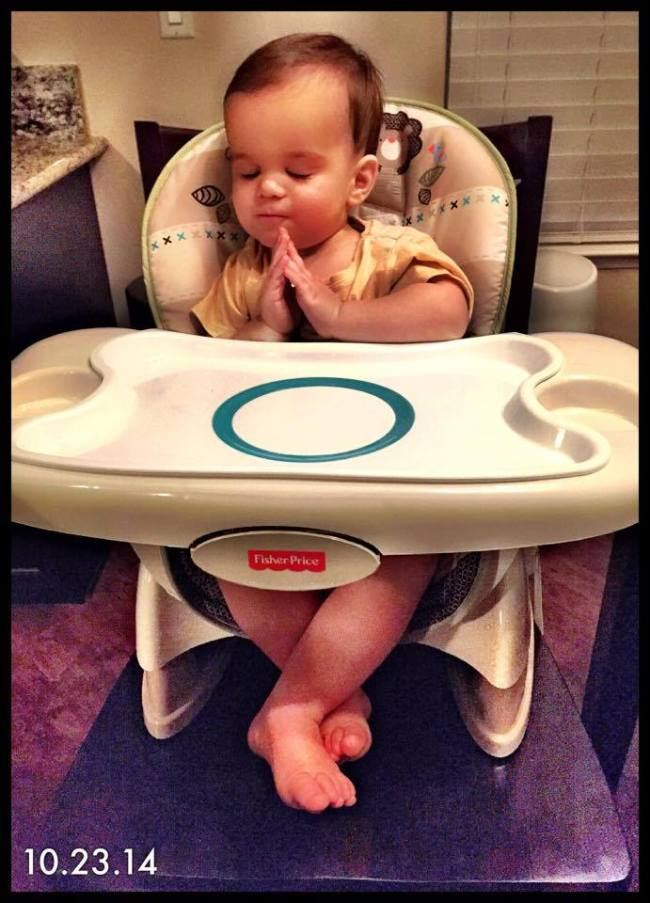 My son Brixton was actually falling asleep in his high chair, I was trying to get a picture of that and this is what turned out! Dinner time can be exhausting!