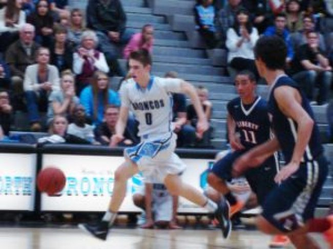Ben Avera drives the ball to the hole. But Clovis North lost to Liberty-Bakersfield by 2 points.