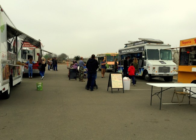 Food trucks parked and ready to serve lunch on a cloudy Saturday afternoon
