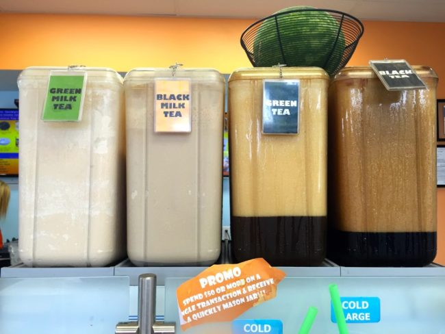 The bases for Quickly's specialty drinks are pre-made.