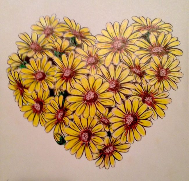 Finished flower heart by, Denise.