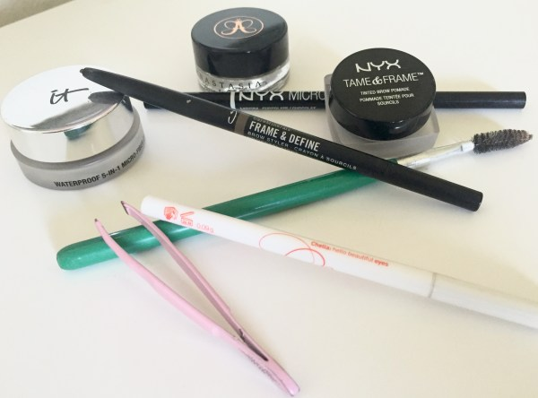 """Just a few of the many implements I'd purchased, trying to """"make"""" brows."""
