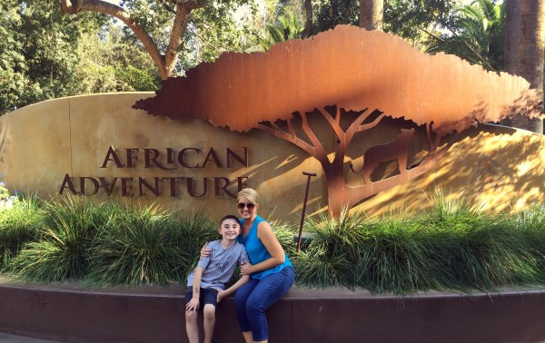 My son and I, ready to enter African Adventure