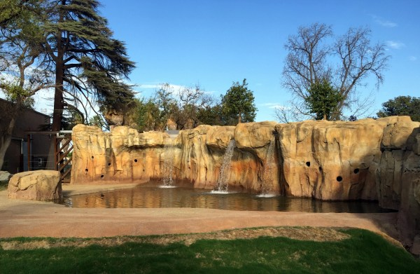 The elephant's fountain, with holes where keepers can put treats as an enrichment activity for the elephants