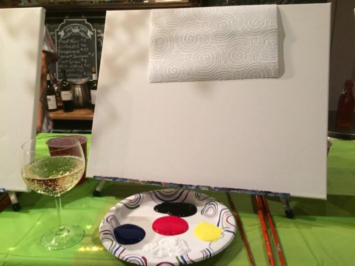 Paint Nite setup (with wine)